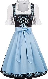 Women's German Dirndl Dress Costumes 3 Pieces for Oktoberfest Carnival
