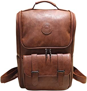 Leather Rucksack Laptop Backpack | Men Waterproof Business Travel Daypack | Multifunctional Buckle Pocket College Bag Backpacks