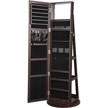 High Full Length Mirror Gift Idea SONGMICS Jewellery Cabinet Standing Lockable Jewellery Organiser with Bottom Drawer Rustic Brown and Black JJC004X01 Wheels Shelf