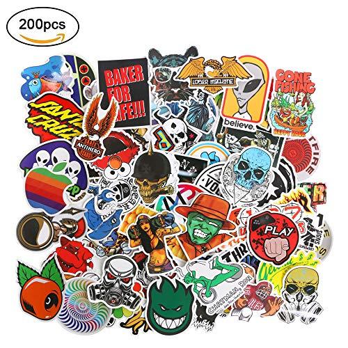 Petit Wudong Aufkleber Pack 200 Stücks, Vinyls Stickers Graffiti Decals Stickerbomb für Laptop, Kinder, Autos, Motorrad, Fahrrad, Skateboard Gepäck, Bumper Sticker Hippie Aufkleber Bomb wasserdicht