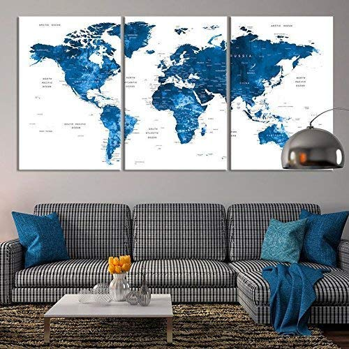 Amazon.com: Large Wall Art Push Pin World Map Canvas Print - Extra ...