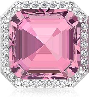 4.2Ct Asscher Shape Tourmaline Stud Earring, Bridesmaid Statement Earring, IGI Certified Diamond Bridal Wedding Earring, IJ-SI Diamond Vintage Earring, Screw Back