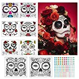 ZERHOK Temporary Face Tattoo, 8pcs Day of the Dead Makeup Stickers Skull Floral Black Skeleton...