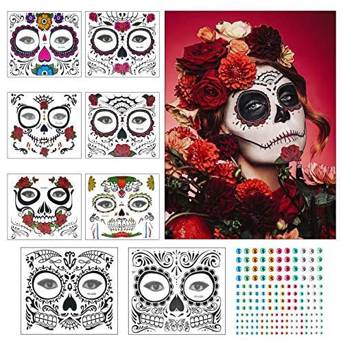 ZERHOK Tatuaje Cara temporales Halloween 8pcs Etiqueta Mascarada diseño cráneo con Gemas Cara Mujer Adhesivas para Maquillaje en Halloween día de Muerto y Baile de Disfraz para Mujer Hombre y niños