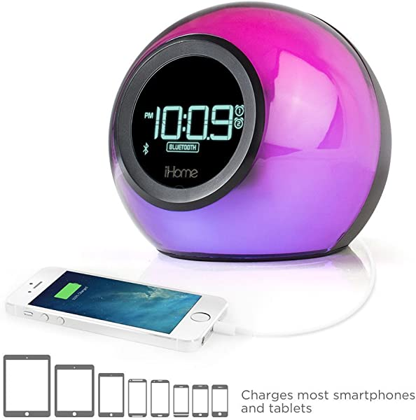 IHome IBT29 Bluetooth Color Changing Dual Alarm Clock Radio With Speakerphone