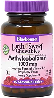 Bluebonnet EarthSweet Methylcobalamin 1,000 mcg Active Coenzyme Form of Vitamin B12 Supports Energy Boost & Metabolism - V...
