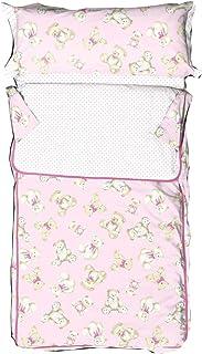 Burrito Blanco Saco Nórdico Infantil 149 con Cremallera y Relleno Diseño de Ositos y Lunares para Cama Individual de 90x190 cm hasta 90x200 cm, Rosa