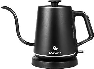 Maxwin 電気ケトル ケトル 0.8L LEDリングライト 空焚き防止 細口 急速沸かし コーヒー ドリップ お茶 【引越し、お祝い、一人暮らし】 (Black)