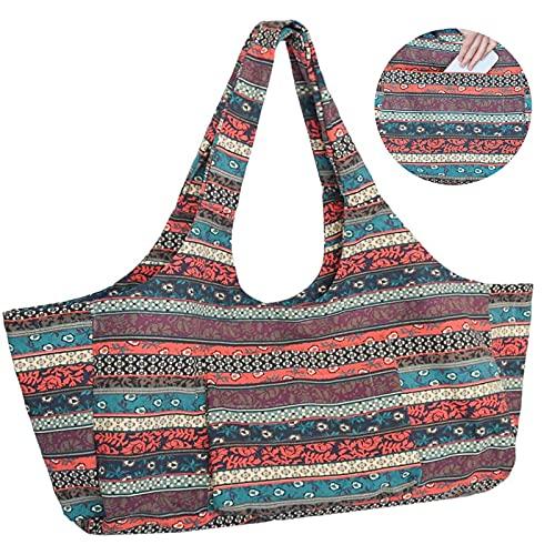 Anjing Large Capacity Bohemian Ethnic Style Print Canvas Yoga Bag Yoga Mat Bag with...