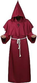 Black Hooded Cloak for Men Wizard Robe Medieval Costume Priest Sorcerer Monk Cape