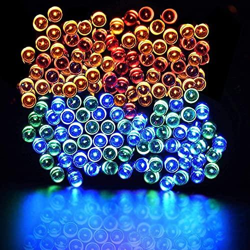 LOJALS Luces Solar LED Luces Solares Al Aire Libre Linternas Césped Jardín Decoración Luces Colgantes Luces de Hadas Multi-Color,7M 50Lights
