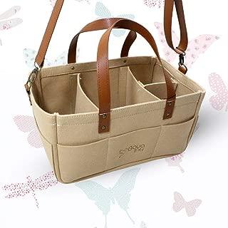 Baby Diaper Caddy Organizer - Nursery Storage Bin for Newborn Baby - Car Travel Tote Bag - Baby Wipes Organizer - Foldable Baby Caddy Diaper Bags (Beige)