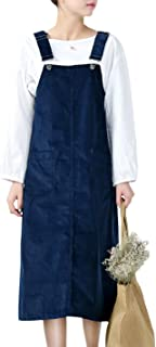 Women's A-line Corduroy Bib Overall Dress Suspender Pinafore Skirt