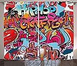 Waple Cortinas opacas ojete para sala de estar Cortinas gráficas, hip hop street culture Harlem New York wall graffiti spray art 170*200cm Cortinas Opacas de Salón Dormitorio 3D Cortinas Termicas Aisl