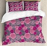 KIMDFACE Juego de funda nórdica rosa y gris, patrón de flores forma de círculo de encaje estilo remolino, flor ornamental, juego de cama decorativo de 3 piezas 2 fundas de almohada gris magenta fucsia