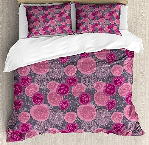 KIMDFACE Juego de funda nórdica rosa y gris, patrón de flores forma de círculo de encaje estilo remolino, flor ornamental, juego de cama decorativo de 3 piezas 2 fundas de almohada gris magent
