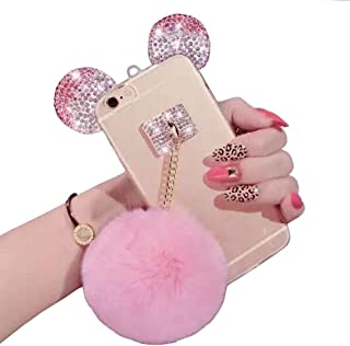 iPhone 6 plus/6s Plus case,Jesiya Cute 3D Diamond Bling Ears/Bear Ears/Mouse Ears with Mobile Phone Hang Rope Metal Buckle Pendant Soft TPU Clear Cover case for iPhone 6 plus/6s Plus 5.5