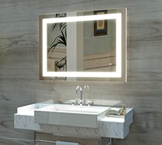 HAUSCHEN 32 x 40 inch LED Lighted Bathroom Wall Mounted Mirror with 5500K High Lumen + CRI 90 Cold White Lights and Anti Fog and Dimmable Memory Touch Button + IP44 Waterproof + Vertical & Horizontal