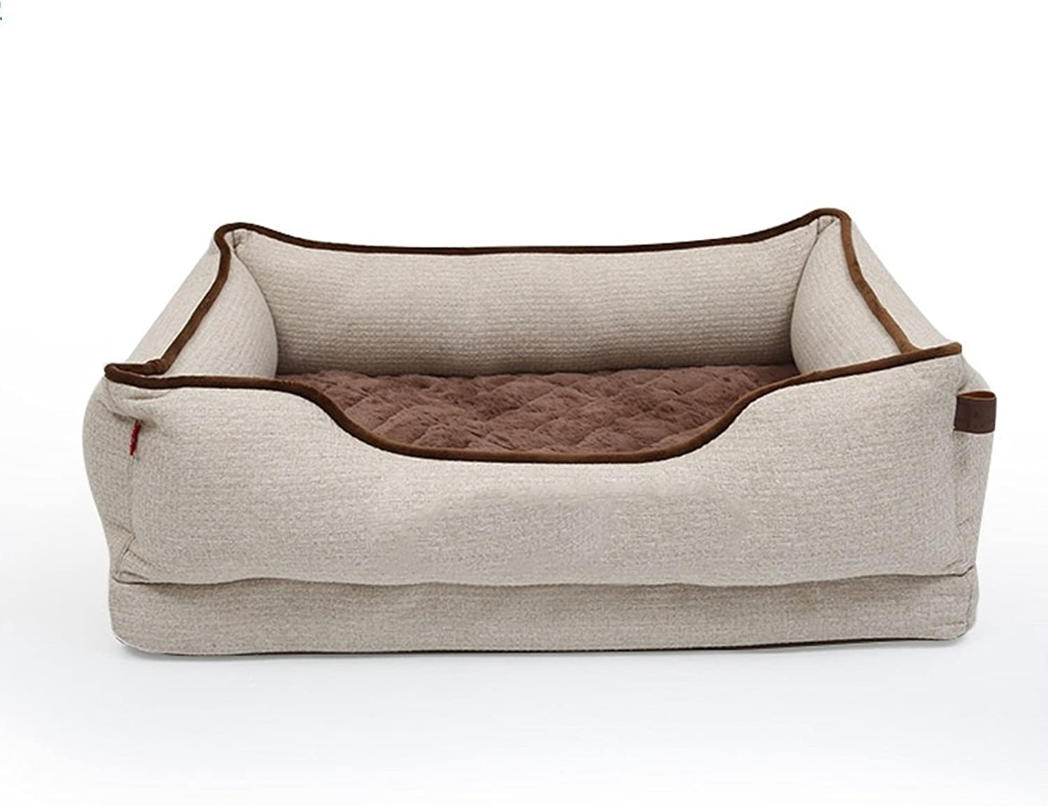 Cheng Pet bed Removable and washable rectangular mattress Four seasons universal breathable comfortable dog bed L (beige 90 x 68x23 cm)