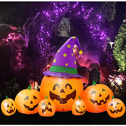 8 Ft Halloween Outdoor Inflatable Decorations – Pumpkin Halloween Blow up Yard Decor Built in LED Lights Blower Decorations for Indoor Outdoor Home Party Lawn Garden Yard