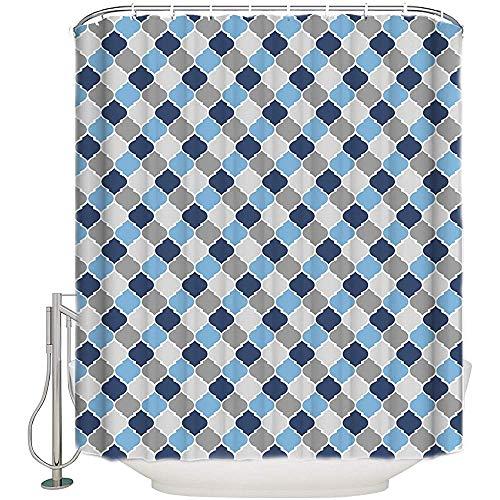 Searster$ Shower Curtain Marokko Qua-Trefoil Lido Geometrische Figur Stoff Duschvorhang Blau Braun Badezimmer Dekor Sets Mit Haken,72X72 In