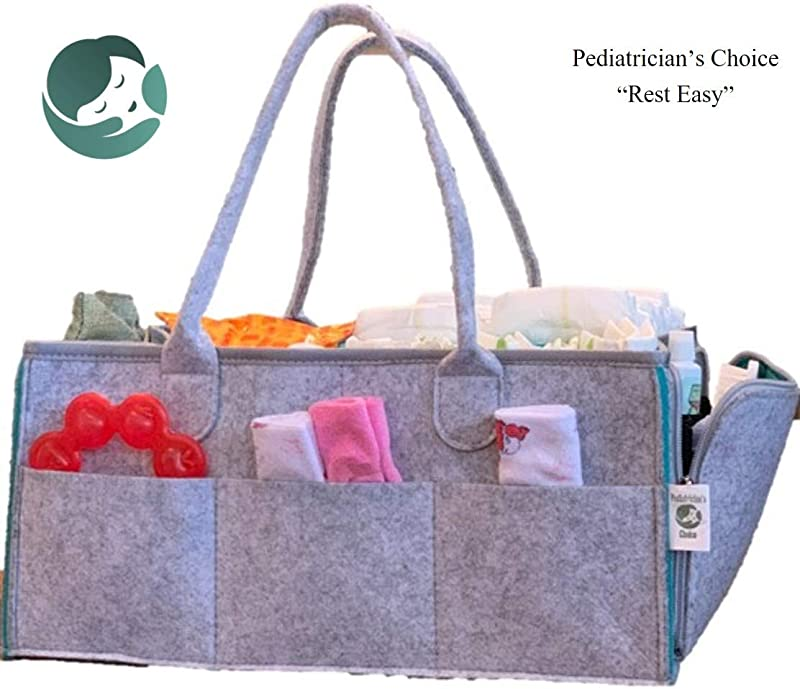 Pediatrician S Choice Premium Felt Infant Portable Organizer 16 X 10 X 7 Grey On The Go Convenience Multiple Pockets Removable Organizer Reinforced Base Handles