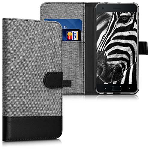 kwmobile Wallet Case for Asus Zenfone 4 Pro (ZS551KL) - Fabric and PU Leather Flip Cover with Card Slots and Stand - Grey/Black