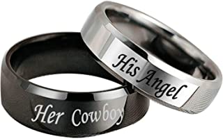 Aooaz Wedding Ring Set Men and Women Stainless Ring for Women Engraved Her Cowboy and His Angel His and Hers Wedding Ring Sets Simple