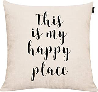 GTEXT Farmhouse Pillow Covers with This is My Happy Place Quotes Farmhouse Decor Pillowcaes Cushion Cover 18 x 18 Inch