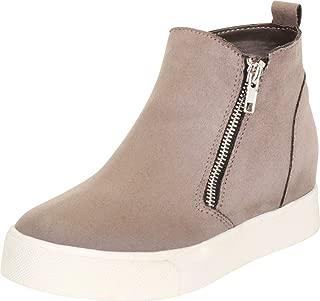 Cambridge Select Women's High Top Side Zip Hidden Wedge Fashion Sneaker