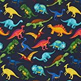 Fabulous Fabrics Sommersweat Bunte Dinos – Marineblau —