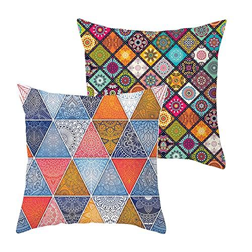 Fundas de Cojines Funda de Almohada Juego de 2 Triángulo de Color Cuadrado Terciopelo Suave Cojines Decor con Cremallera Invisible para Sofá Decor Hogar Funda de Cojín G5188 Pillowcase+Core_40x40cm