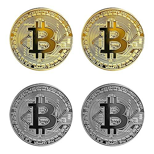 Krisler 4 STÜCKE Physische Bitcoin Medaille mit 24-Karat Echt-Gold überzogen.Virtuelle Währung Münze Collectibles Geschenk BTC Münze Kunst Sammlung Physikalische (Golden&Splitter)