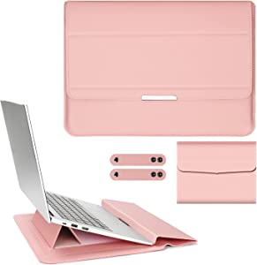 PENGRUISI 13-13.5inch Laptop Sleeve Case Laptop Three in one Bracket Inner Bushing with Stand Function compatible13-13.5inch with All laptops and Tablets Soft PU Leather(Pink Rose Gold)