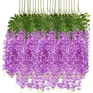 Qiddo 24 Pack 3.75 Feet/Piece Artificial Fake Wisteria Vine Ratta Hanging Garland Silk Flowers String Home Party Wedding Decor(24PCS-Violet)