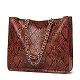 MIMITU Bolso de hombro de moda simple con estampado de serpiente para mujer Bolso de cadena de todo fósforo de PU Bolso de viaje de compras al aire libre de gran capacidad, marrón
