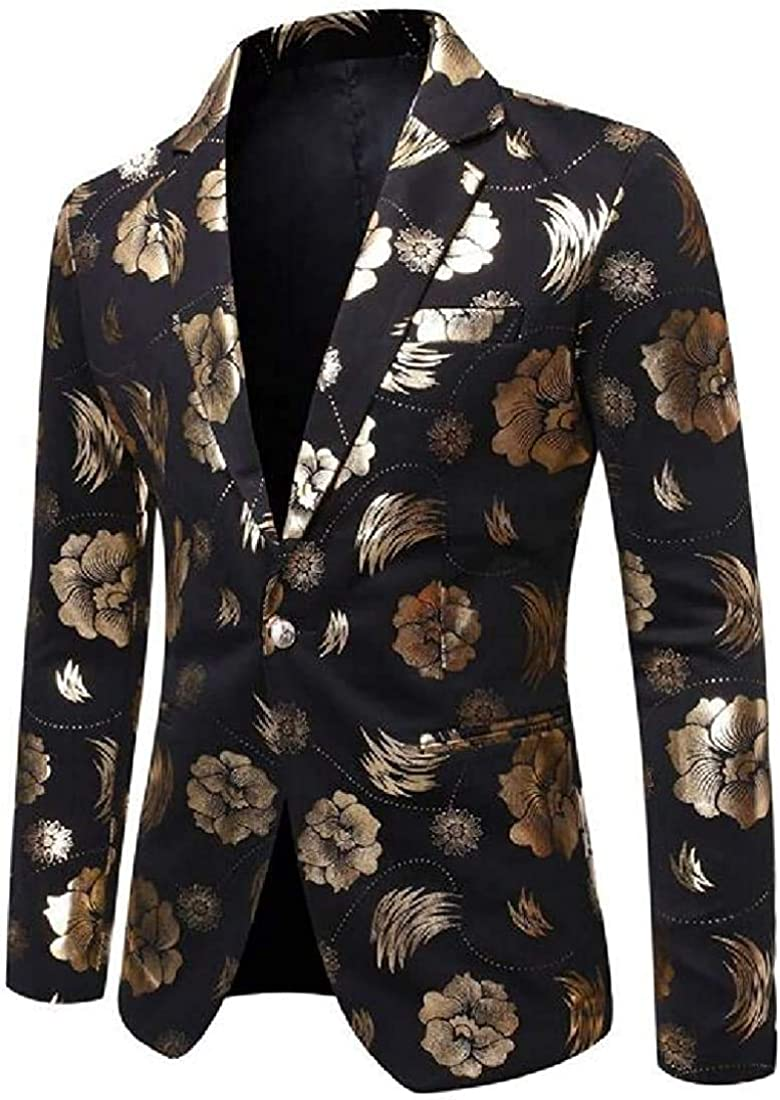 Men Blazer Coats Casual Gilding Flower Slim Fit Bl Suit Printing 2021 new Free shipping
