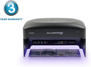 AccuBANKER Compact UV Currency Detector LED61 Ultraviolet Counterfeit Money Machine Detects Bills, IDs & Credit Cards