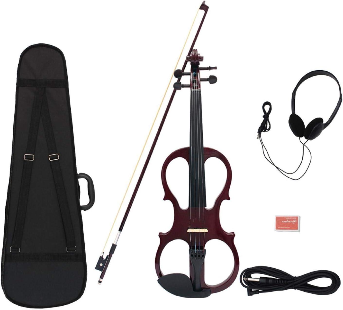 KEPOHK Violín eléctrico de arce de madera 4/4, instrumento de cuerda con accesorios de ébano, funda para auriculares con cable para amantes de la música, principiantes, rojo vino