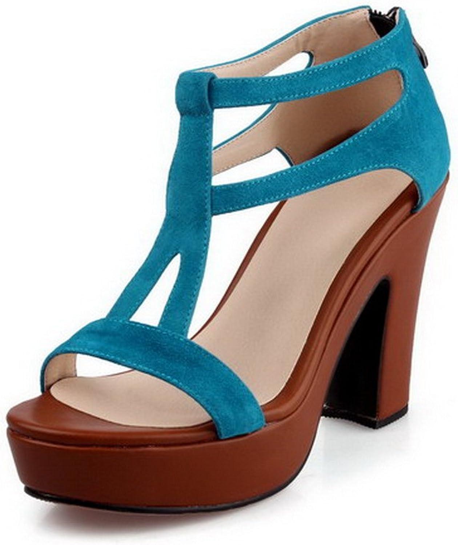 WeenFashion Women's Sheepskin Solid Zipper Open Toe High Heels Sandals