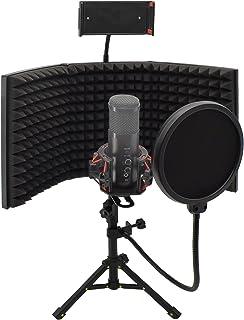 Qingyuan マイク分離シールド リフレクションファイルター 折り畳み式 三つ折り 防音マイク スタジオマイク吸音フォーム ボーカル録音・放送用 マイクロフォン絶縁シールド 三脚 スタンド 卓上設置マイクスタンド設置型 録音吸音材