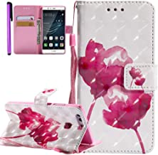 ISADENSER Huawei P9 Case Huawei P9 Leather Case 360 Body Protection [Wallet Stand] with Flip Magnetic Closure Shockproof Card Holder PU Leather Wallet Case Cover for Huawei P9 3D Gouache Flower KT