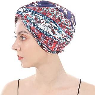 DuoZan Cotton Turbans Satin Liner Double-Layered Head Wrap Beanie Chemo Cap Sleep Bonnet