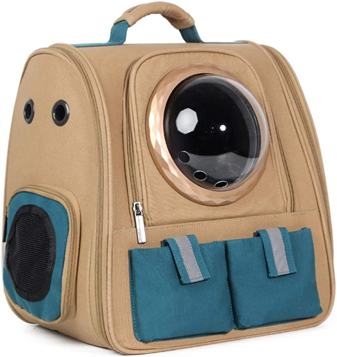 Pet Backpack Space Bag Scalable Outgoing Carrying Case Chest Shoulder Bags Handbag Dog Bags Cat Cage (color   Brown B, Size   38X28X40cm)