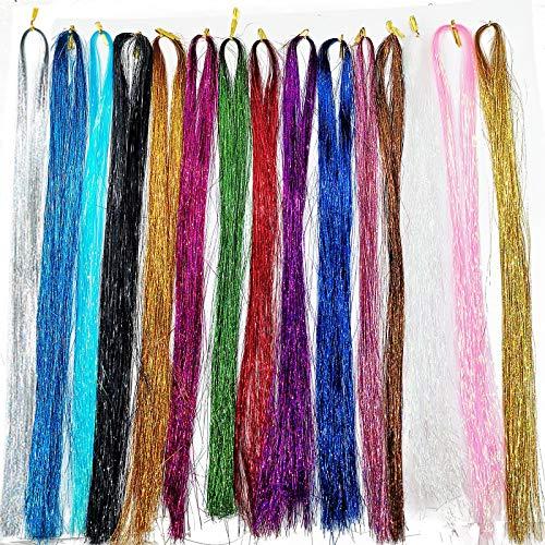 15 Stück Haar Lametta, Lametta Haarverlängerungen, 15 Farben 43 Zoll 2250 Strähnen, mehrfarbige Hair Sparkle Extension, für Mädchen Frauen