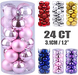 Emopeak 24Pcs Christmas Balls Ornaments for Xmas Christmas Tree - Shatterproof Christmas Tree Decorations Small Hanging Ball for Holiday Wedding Party Decoration (Pink, 1.2