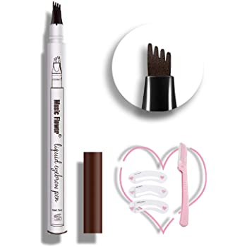 Eyebrow Tattoo Pen,Microblading Eyebrow Pen Tat Brow Micro Ink Brow Pen Microblade Eyebrow Pencil Waterproof & Smudge-Proof With Four Micro-Fork Tips for Daily Natural Eye Makeup