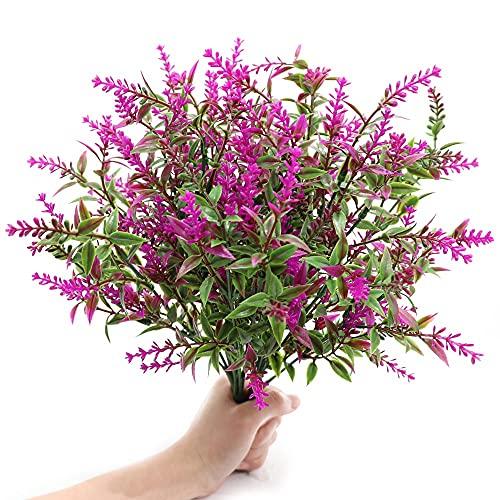 GKONGU Flores Artificiales de Lavanda,4 Piezas Ramo de plastico,decoración Planta para Exterior Interior Jardín Fiesta Boda (púrpura)
