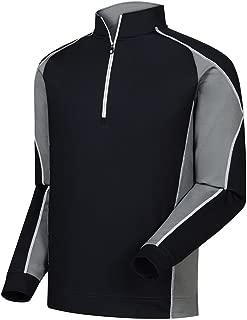 FootJoy Mixed Texture Sport Half-Zip Golf Pullover (Small, Black/Charcoal)