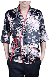 Mens Women Floral Printed Sushi Chef Jacket Japanese Kitchen Uniform Sushi Workwear Kimono Cardigan